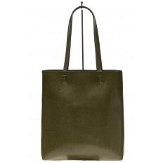 На фото 3 - Кожаная сумка-пакет зеленого цвета