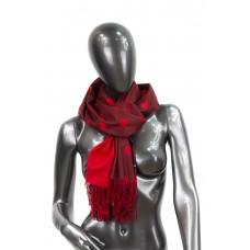 На фото 1 - Шарф-палантин из кашемира двухцветный в горошек, двухсторонний. Цвет бордовый и красный