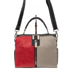На фото 2 - Женская сумка купол из искусственной кожи, цвет комбинированный (красный, черный, серо-бежевый)