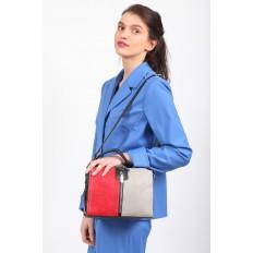 На фото 5 - Женская сумка купол из искусственной кожи, цвет комбинированный (красный, черный, серо-бежевый)