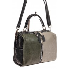 На фото 1 - Женская сумка купол из искусственной кожи, цвет зеленый