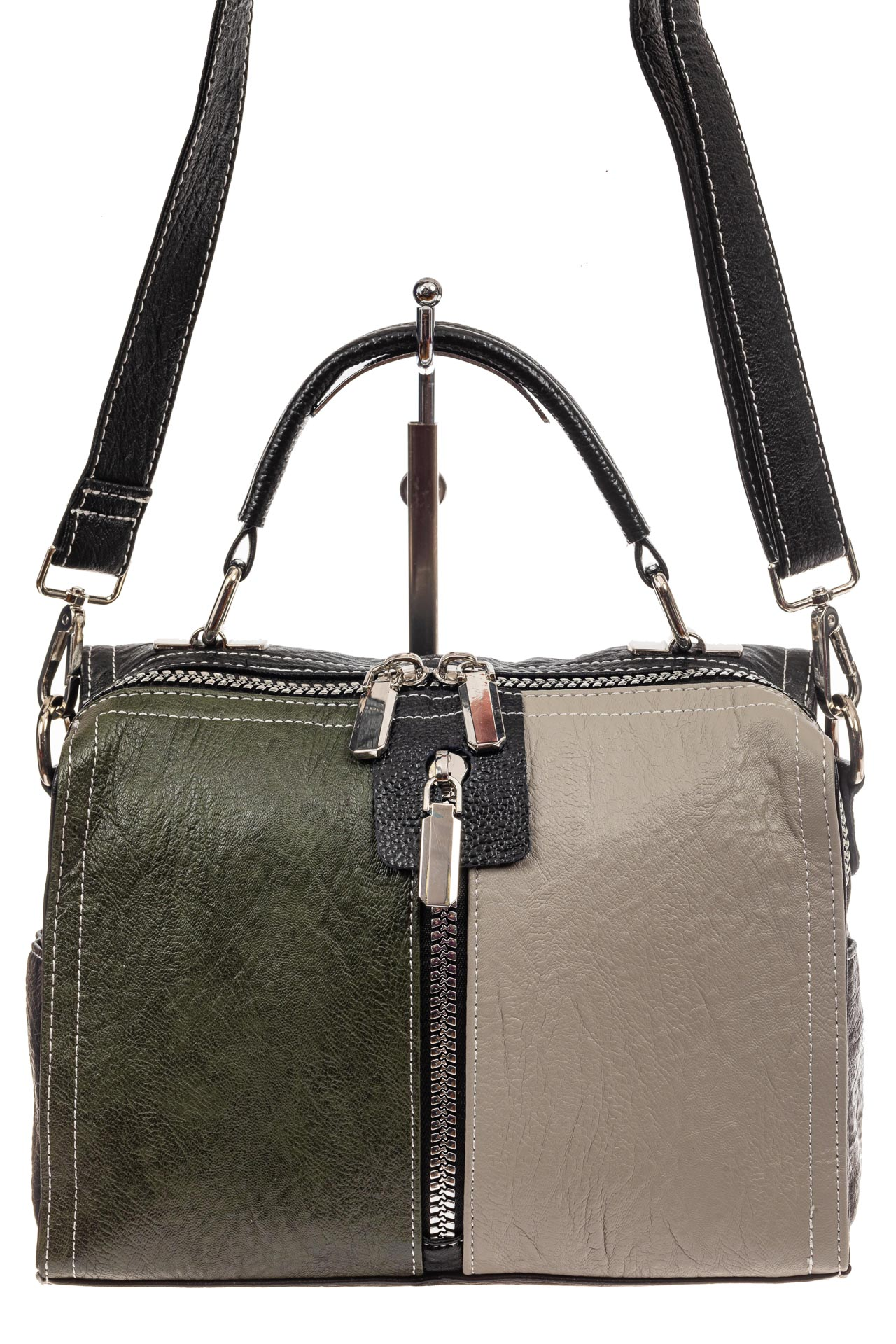 На фото 2 - Женская сумка купол из искусственной кожи, цвет зеленый
