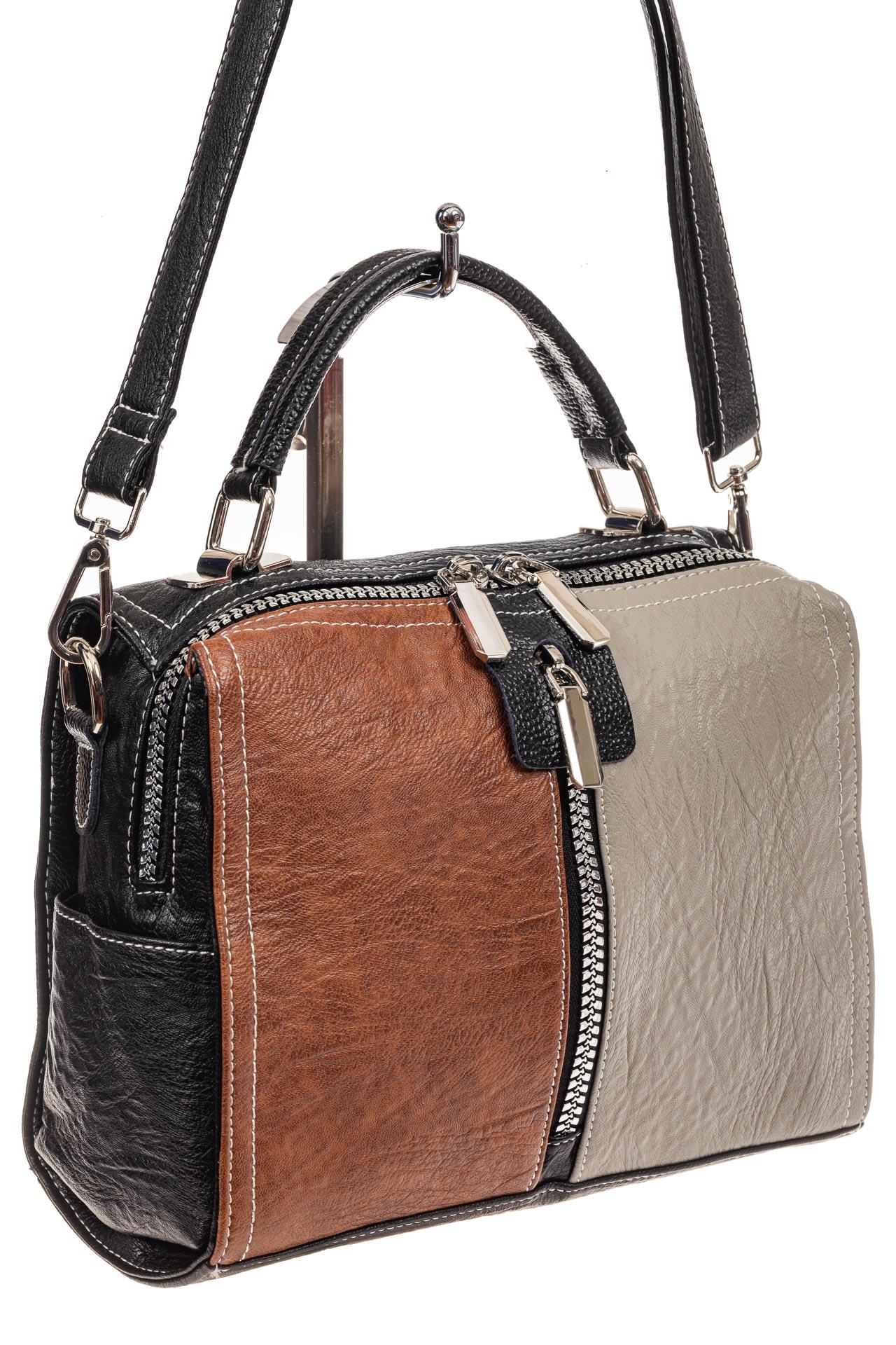 На фото 1 - Женская сумка-купол из искусственной кожи, цвет комбинированный (черный, коричневый, серый)
