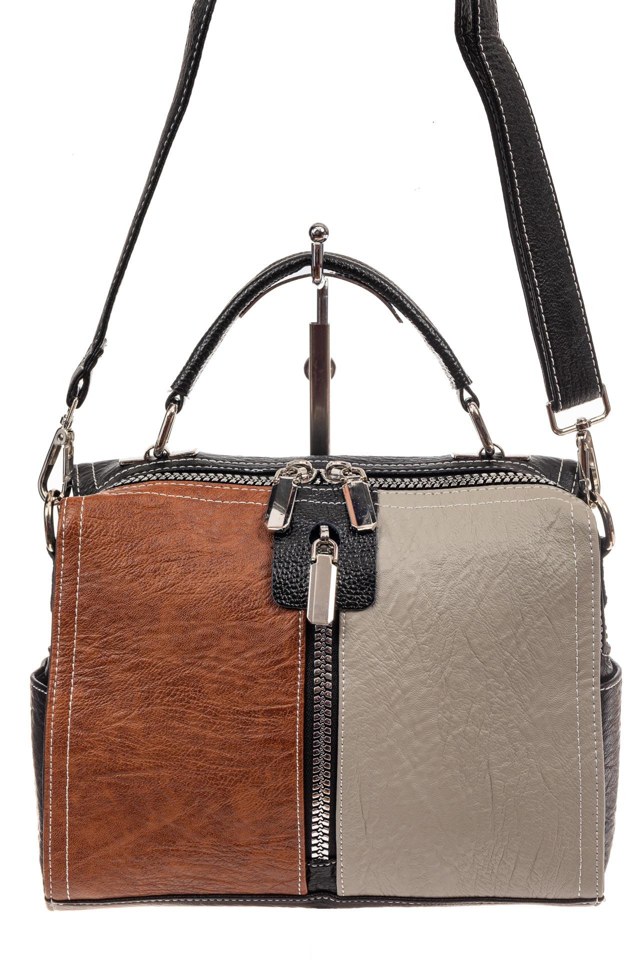 На фото 2 - Женская сумка-купол из искусственной кожи, цвет комбинированный (черный, коричневый, серый)