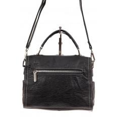 На фото 3 - Женская сумка-купол из искусственной кожи, цвет комбинированный (черный, коричневый, серый)