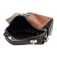 На фото 4 - Женская сумка-купол из искусственной кожи, цвет комбинированный (черный, коричневый, серый)