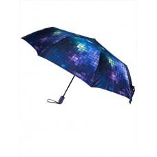 На фото 1 - Зонт-полуавтомат женский с геометрическим принтом, цвет синий