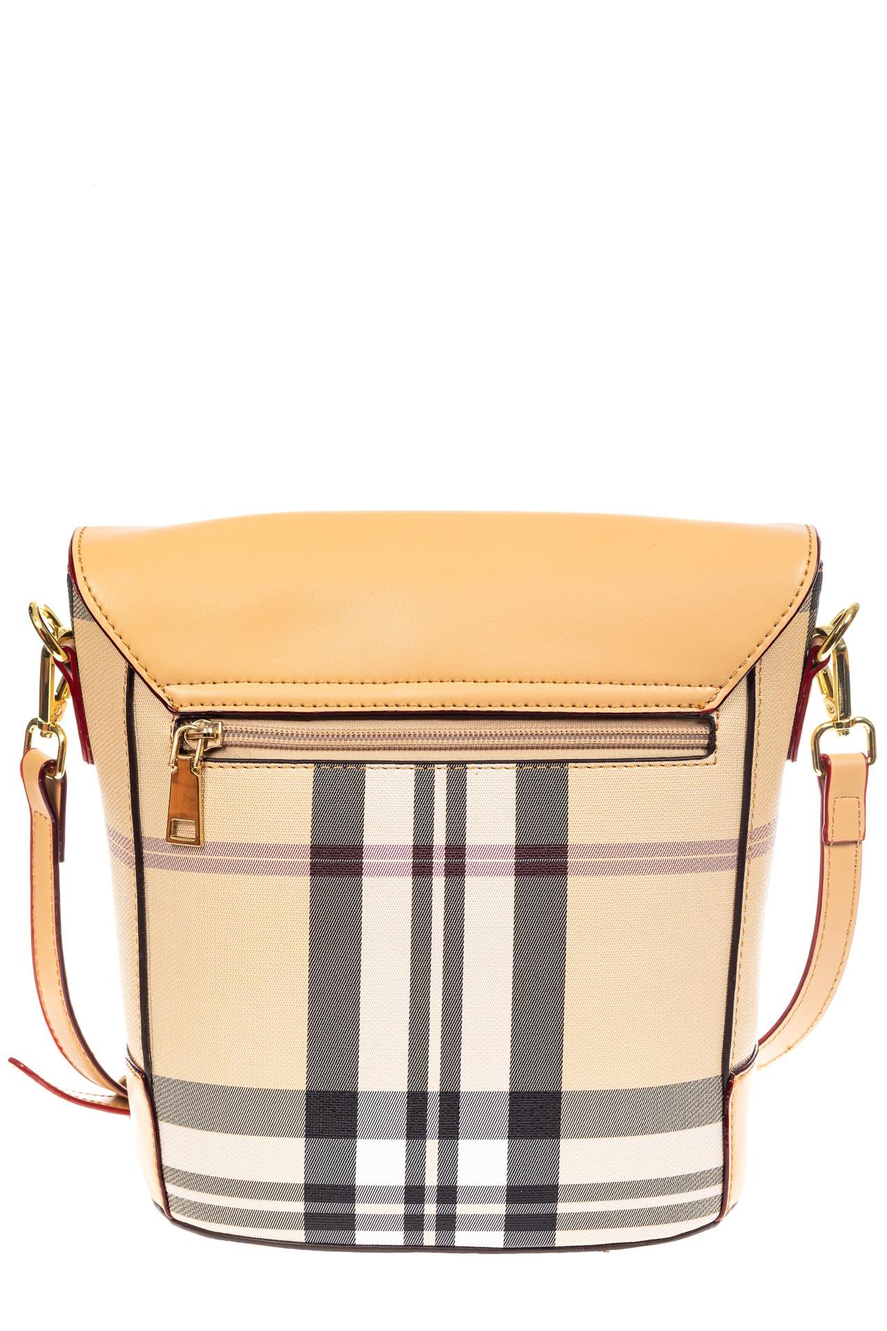 На фото 3 - Женская сумка из кожзама с клапаном, цвет бежевый