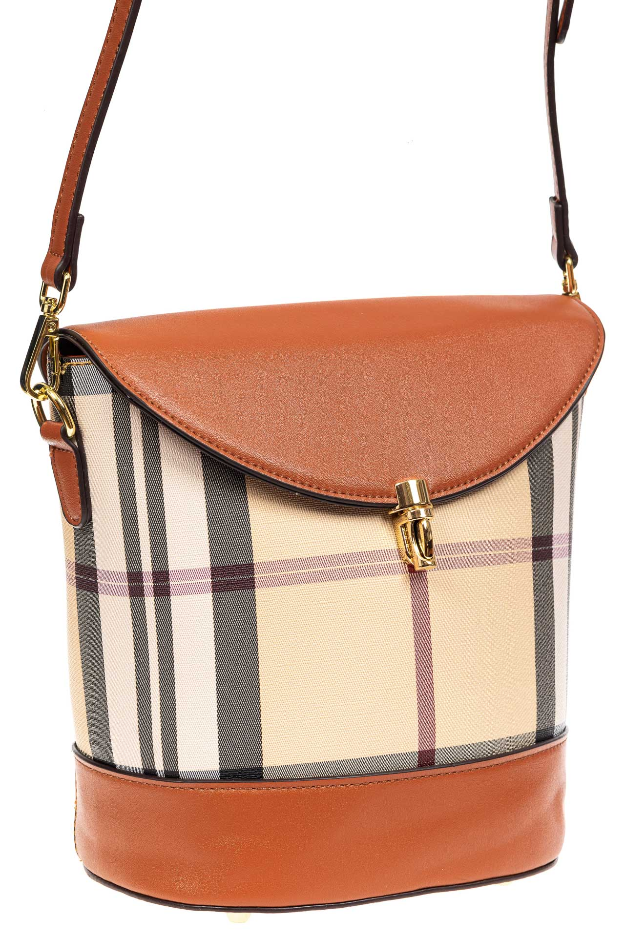 На фото 1 - Женская сумка из кожзама сумка с клапаном, цвет рыжий