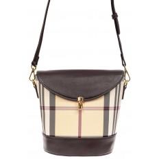 На фото 2 - Женская сумка из кожзама сумка с клапаном, цвет коричневый