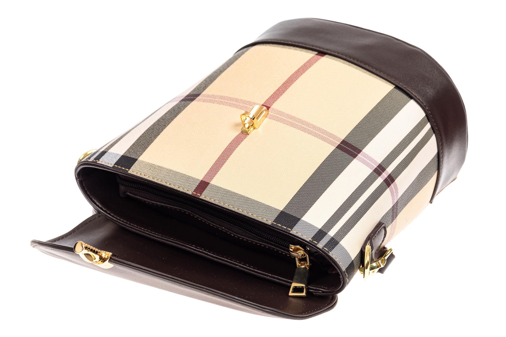 На фото 4 - Женская сумка из кожзама сумка с клапаном, цвет коричневый