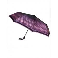 На фото 1 - Зонт-полуавтомат женский с принтом, цвет фиолетовый