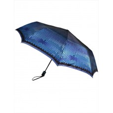 На фото 1 - Зонт-полуавтомат женский с принтом, цвет синий