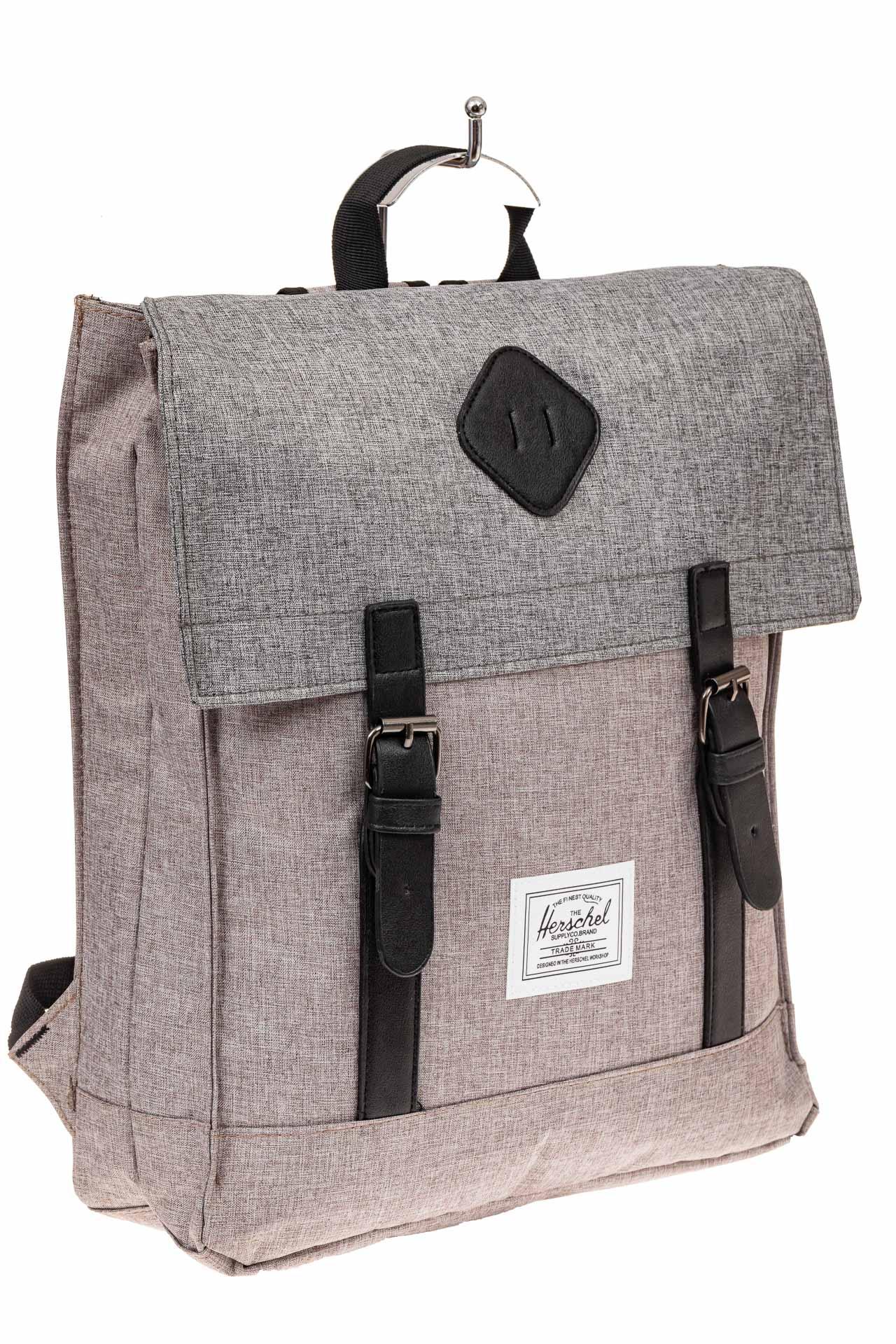 На фото 1 - Мужской рюкзак с клапаном, цвет серый