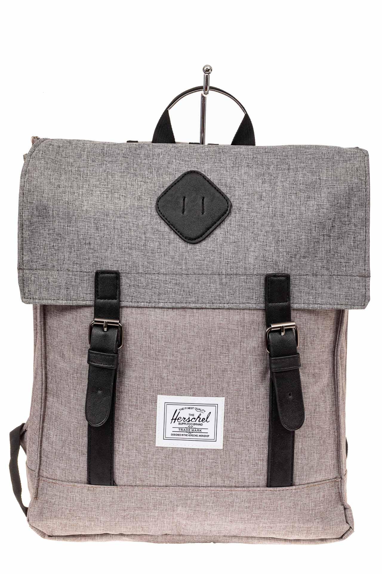 На фото 2 - Мужской рюкзак с клапаном, цвет серый