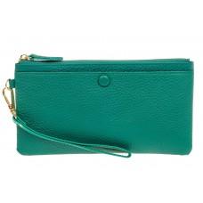 На фото 1 - Женский кошелек-клатч из натуральной кожи, цвет зеленый