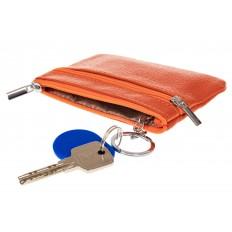 На фото 2 - Женская ключница из натуральной кожи, цвет оранжевый