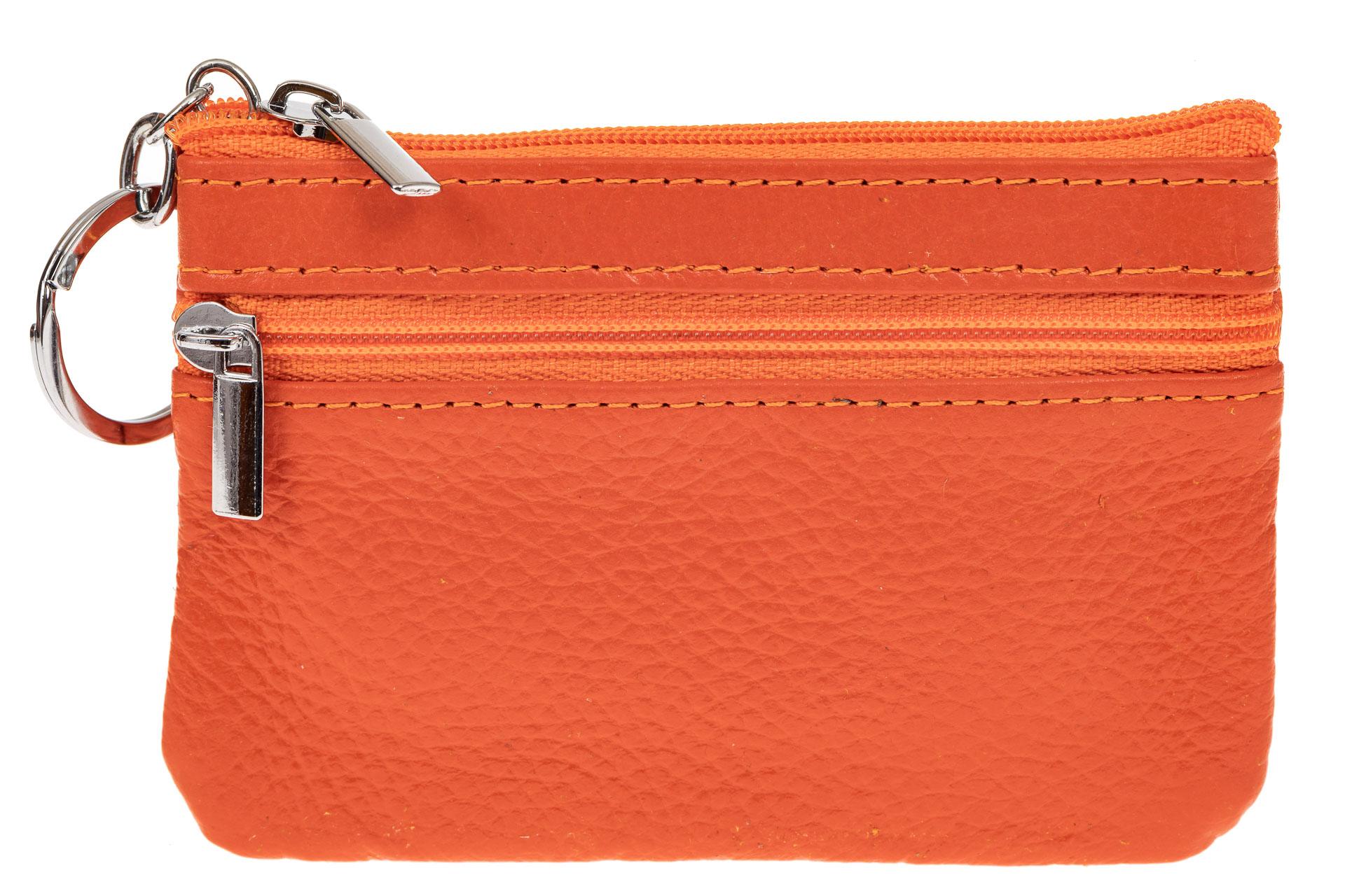 На фото 1 - Женская ключница из натуральной кожи, цвет оранжевый