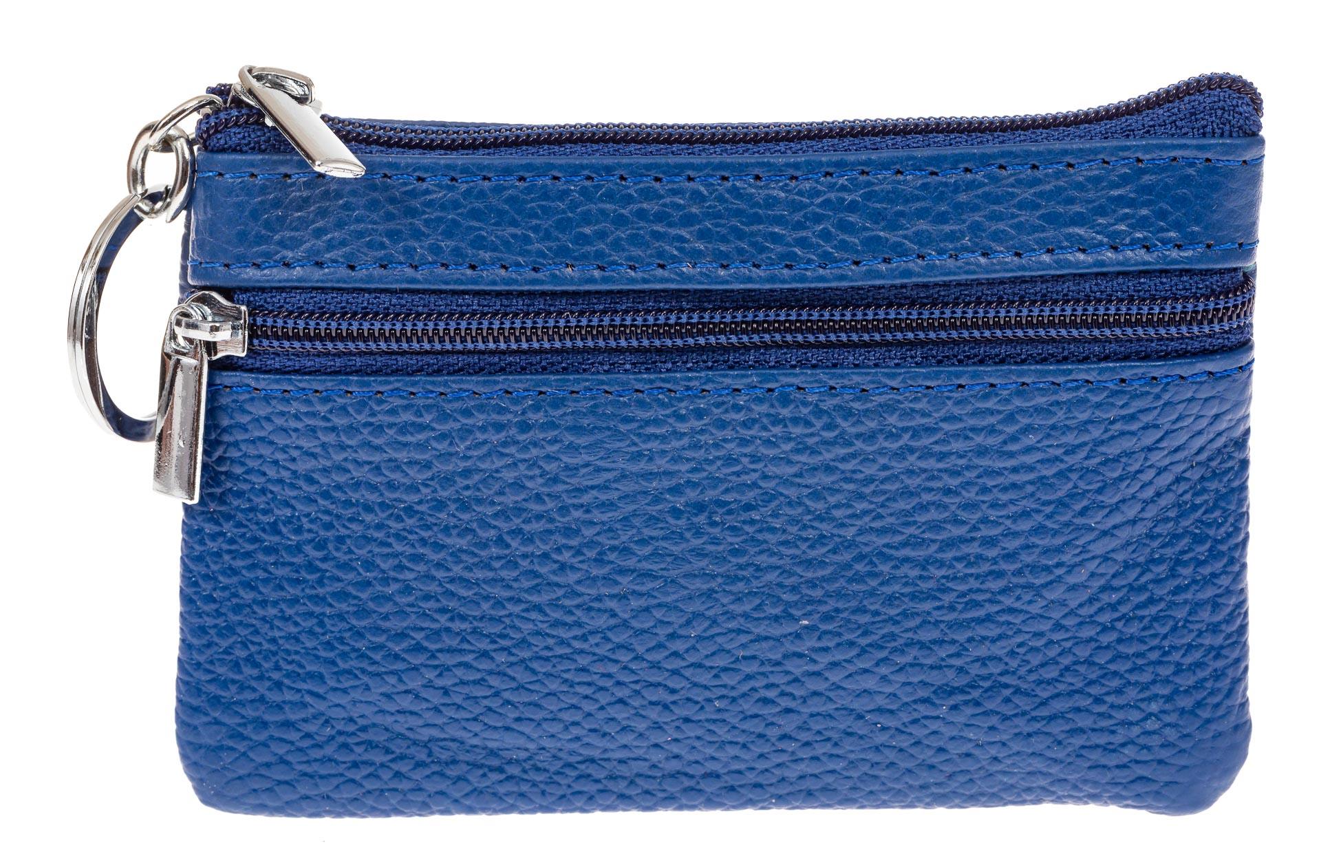На фото 1 - Женская ключница из натуральной кожи, цвет синий