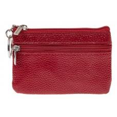 На фото 1 - Женская ключница из натуральной кожи, цвет бордовый