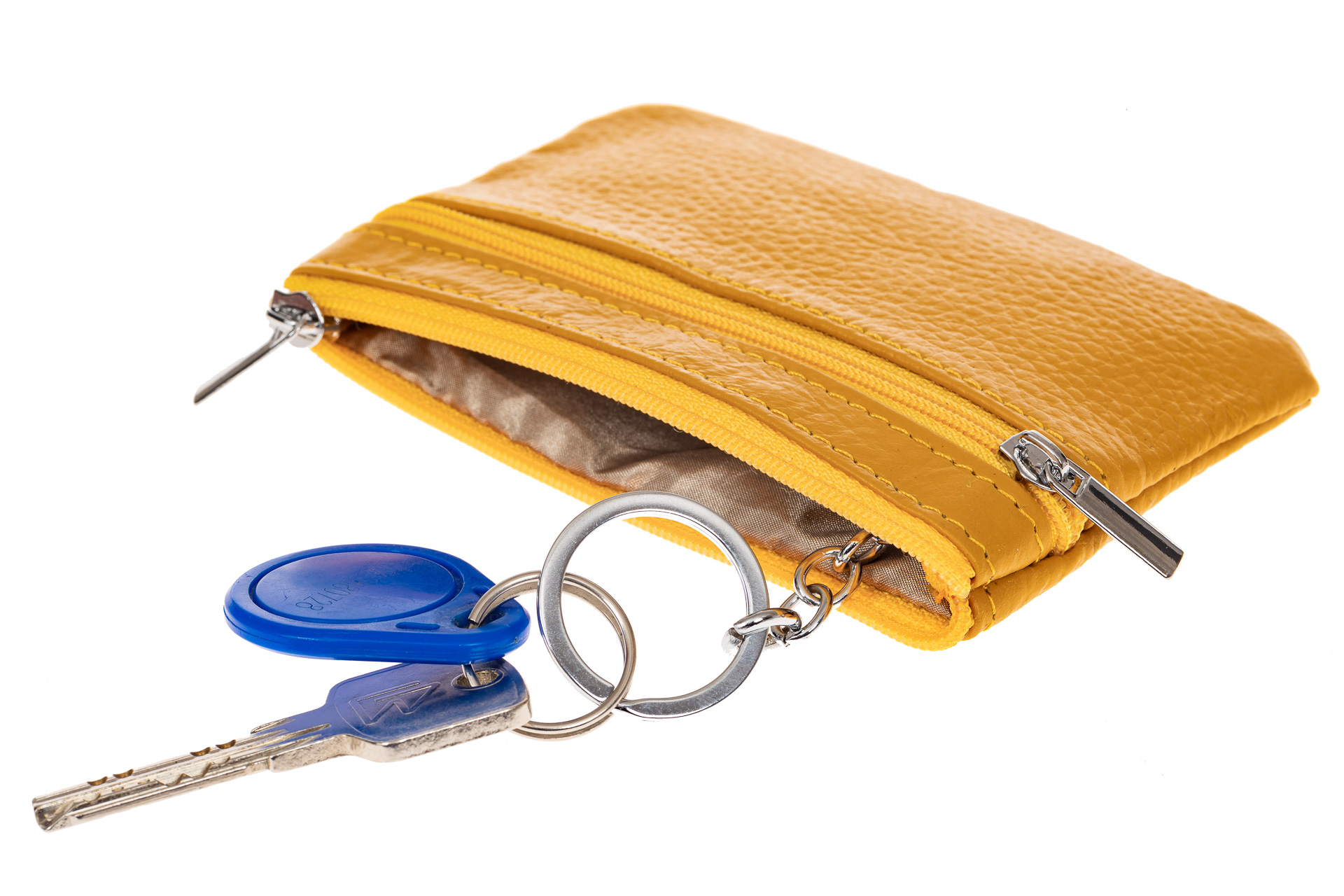 На фото 2 - Женская ключница из натуральной кожи, цвет горчичный