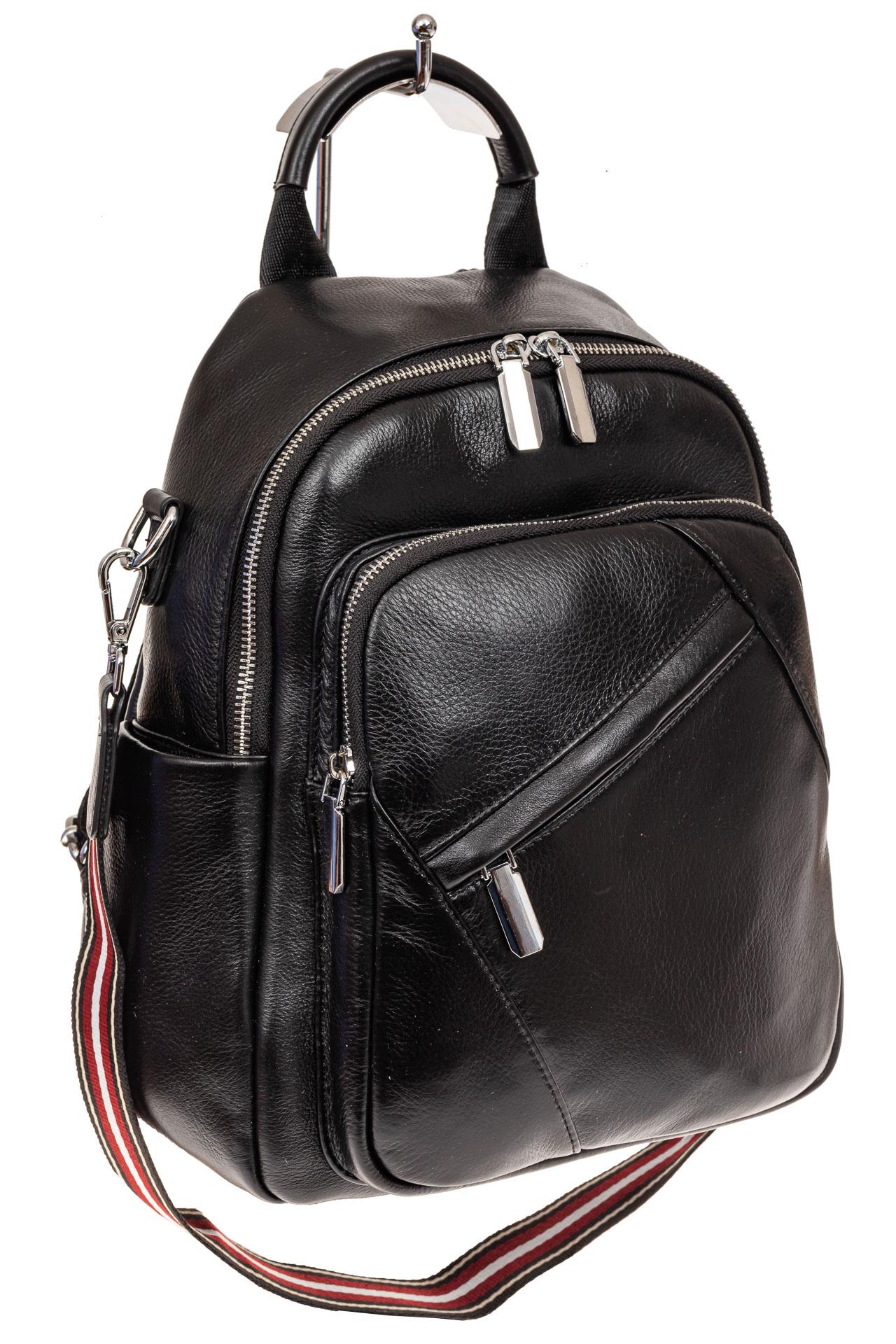 На фото 1 - Стильный женский рюкзак из натуральной кожи, цвет черный
