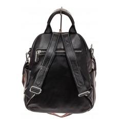 На фото 2 - Стильный женский рюкзак из натуральной кожи, цвет черный