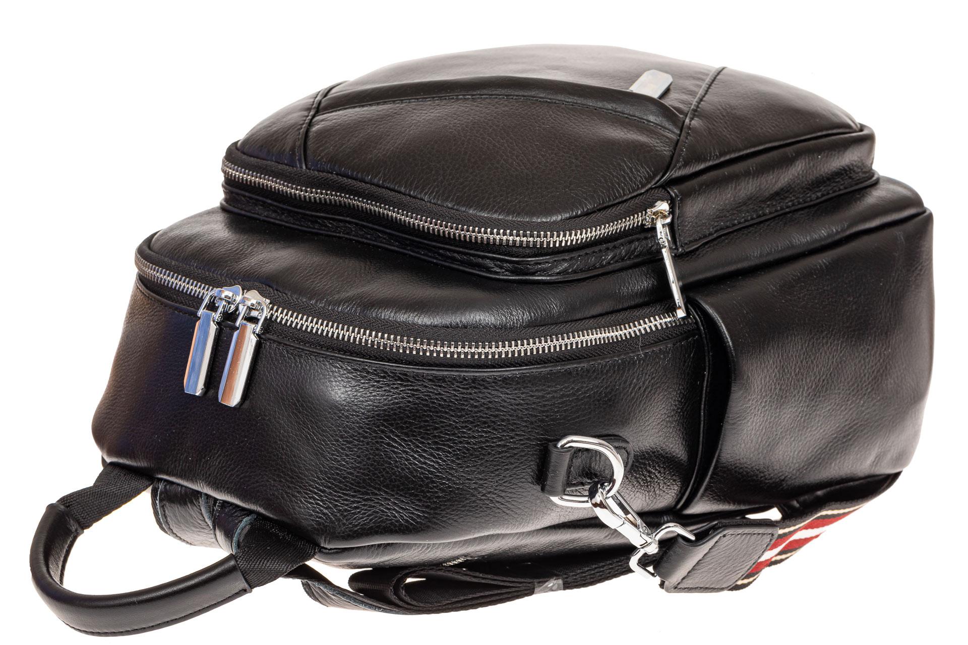 На фото 3 - Стильный женский рюкзак из натуральной кожи, цвет черный