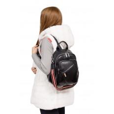 На фото 4 - Стильный женский рюкзак из натуральной кожи, цвет черный