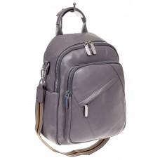 На фото 1 - Стильный женский рюкзак из натуральной кожи, цвет серый