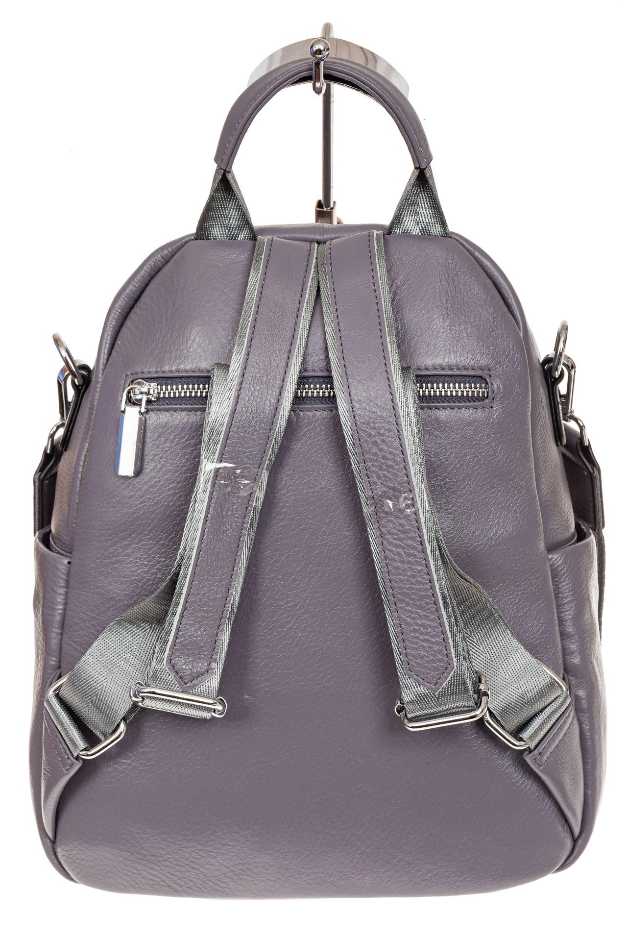 На фото 2 - Стильный женский рюкзак из натуральной кожи, цвет серый