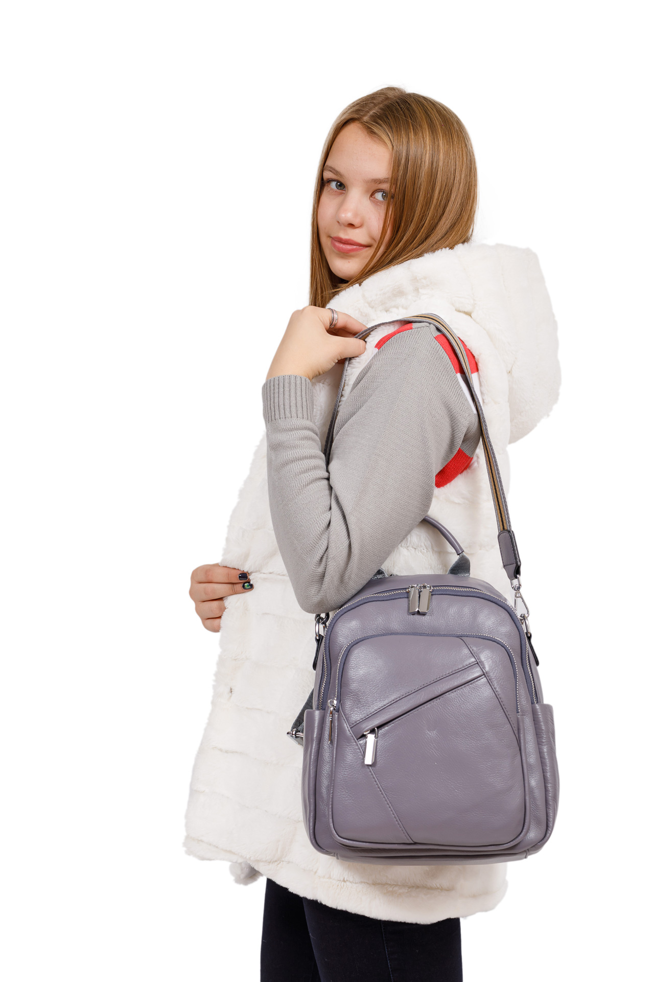 На фото 4 - Стильный женский рюкзак из натуральной кожи, цвет серый
