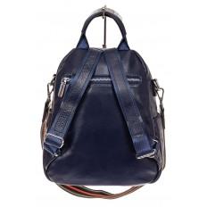 На фото 2 - Стильный женский рюкзак из натуральной кожи, цвет синий