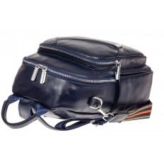 На фото 3 - Стильный женский рюкзак из натуральной кожи, цвет синий