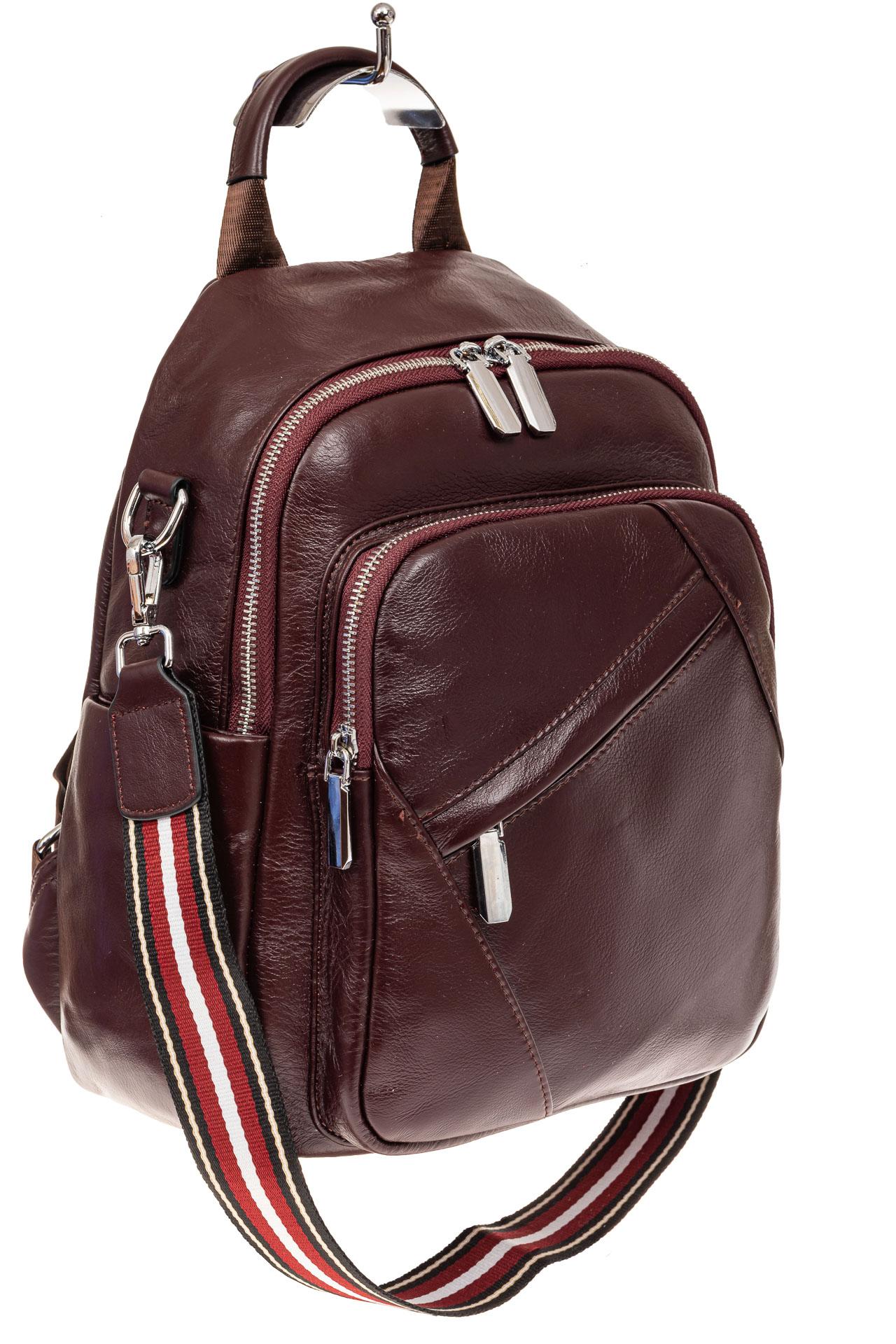 На фото 1 - Стильный женский рюкзак из натуральной кожи, цвет кофе