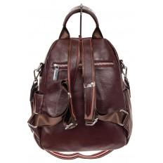На фото 2 - Стильный женский рюкзак из натуральной кожи, цвет кофе