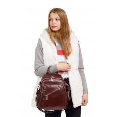 На фото 4 - Стильный женский рюкзак из натуральной кожи, цвет кофе