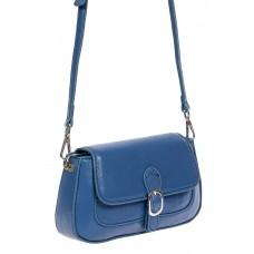 На фото 1 - Кожаная сумочка кросс-боди со вставкой из крокодиловой кожи, синяя