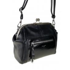 На фото 1 - Женская сумка из искусственной кожи с фермуаром, цвет чёрный