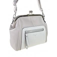 На фото 1 - Женская сумка из искусственной кожи с фермуаром, цвет светло-серый с белым