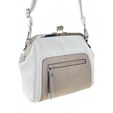 На фото 1 - Женская сумка из искусственной кожи с фермуаром, цвет белый с пудровым