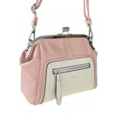 На фото 1 - Женская сумка из искусственной кожи с фермуаром, цвет розовый с белым