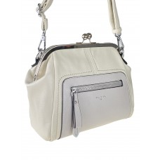 На фото 1 - Женская сумка из искусственной кожи с фермуаром, цвет молочный с серым