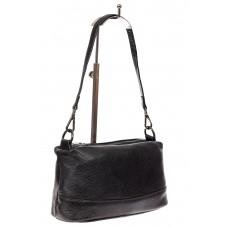 На фото 1 - Кожаная сумка багет, цвет черный