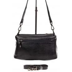 На фото 3 - Кожаная сумка багет, цвет черный