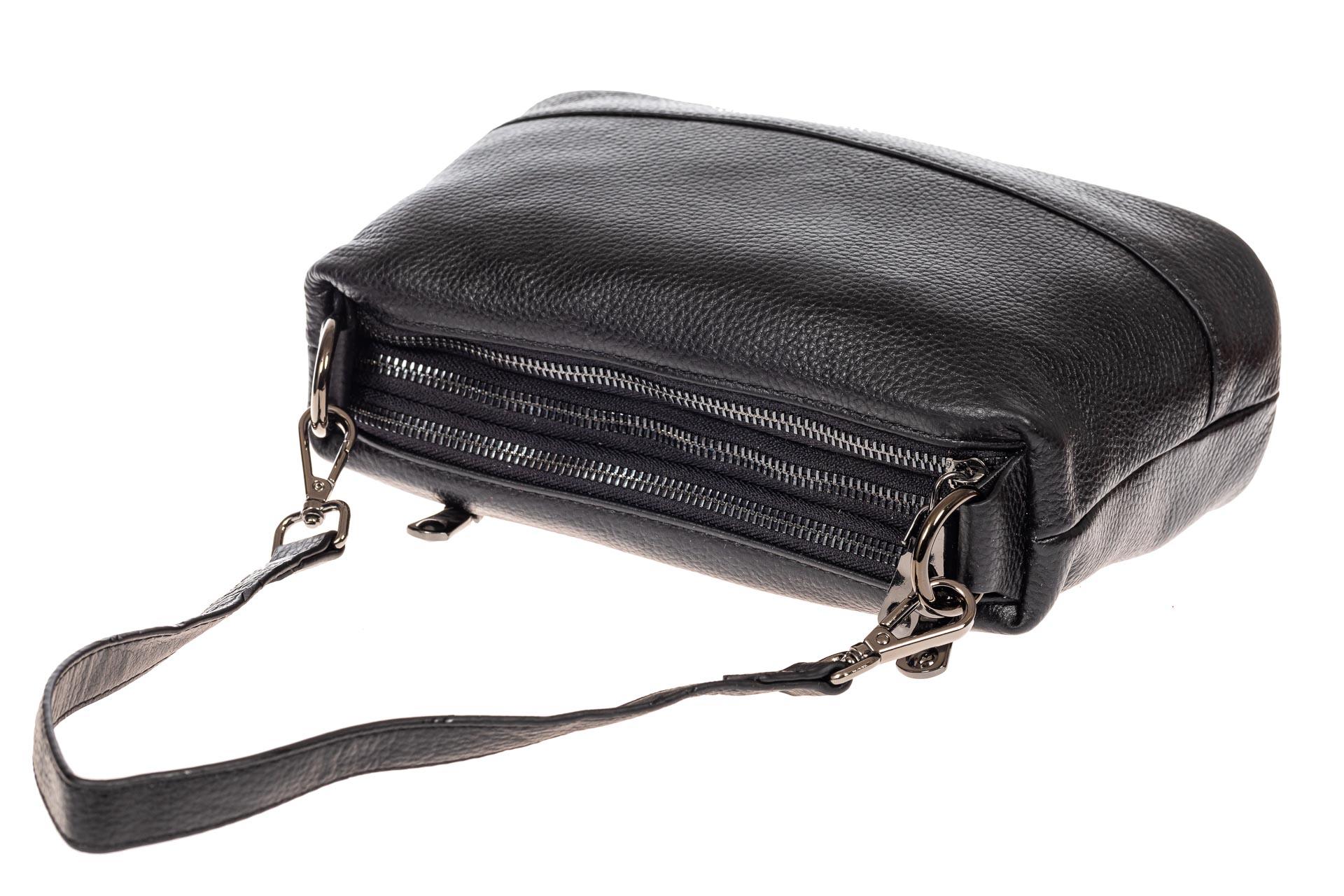 На фото 5 - Кожаная сумка багет, цвет черный