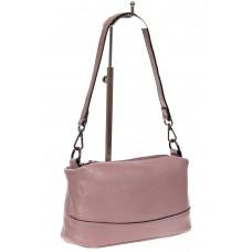 На фото 1 - Кожаная сумка багет, цвет розовый