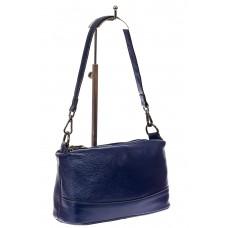 На фото 1 - Кожаная сумка багет, цвет синий