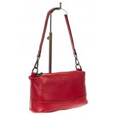 На фото 1 - Кожаная сумка багет, цвет красный