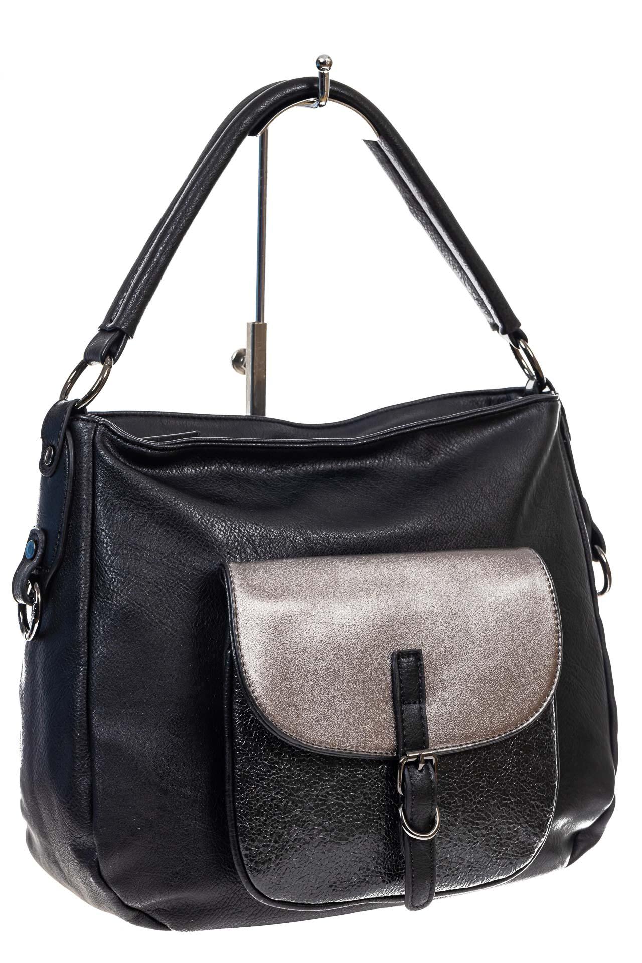 На фото 3 - Женская сумка хобо из гладкой экокожи, цвет черный